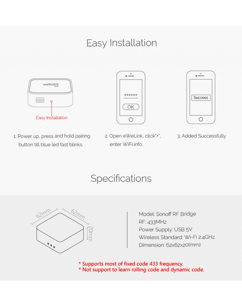 Sonoff RF433 Home Security Kit